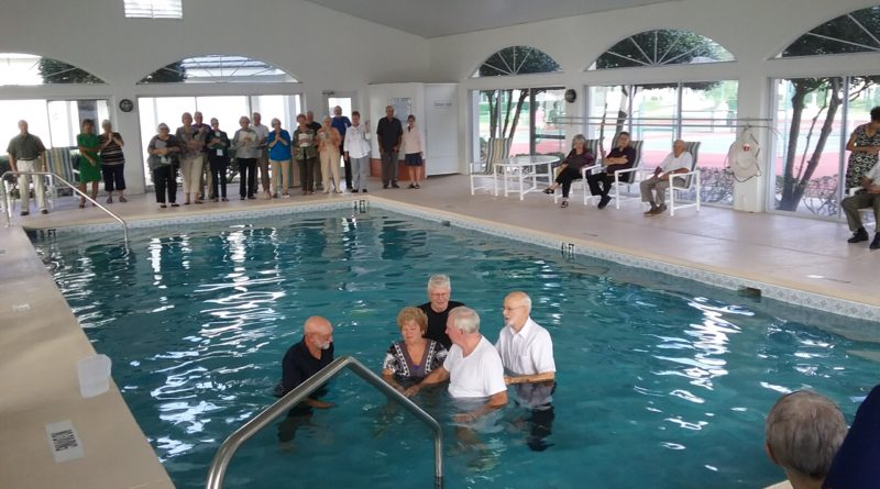 Oct 2016, Ocala Palms Non-Denominational Worship Service held a full immersion Baptism for seven members.